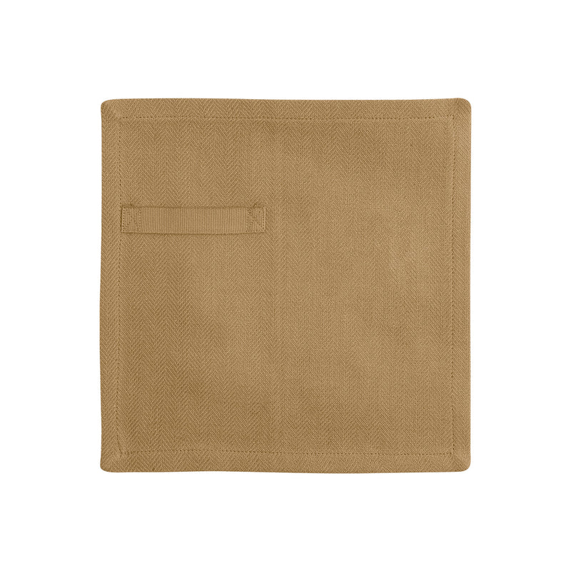 Khaki colored napkin unfolded