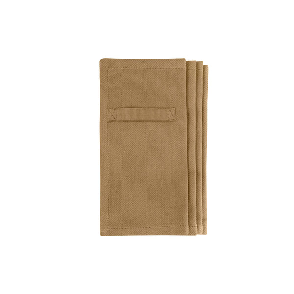 Four khaki gots certified organic reusable napkins for everyday use in four pieces box