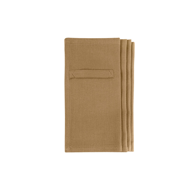 Khaki colored napkins folded