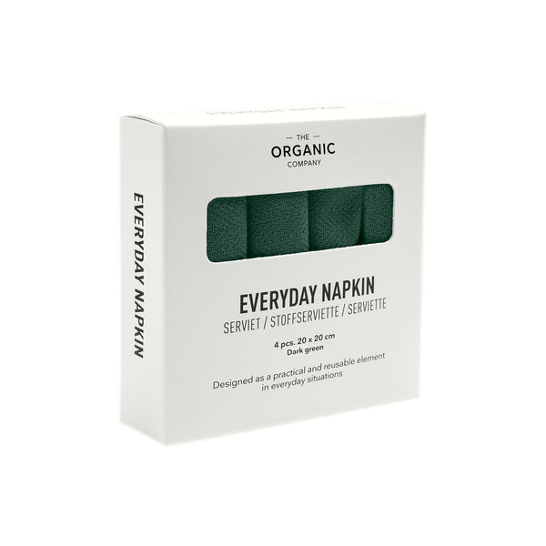 Four dark green gots certified organic reusable napkin for everyday use in a box