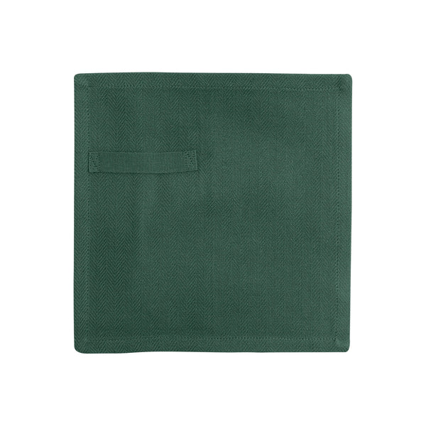 Dark green gots certified organic reusable napkin for everyday use unfolded