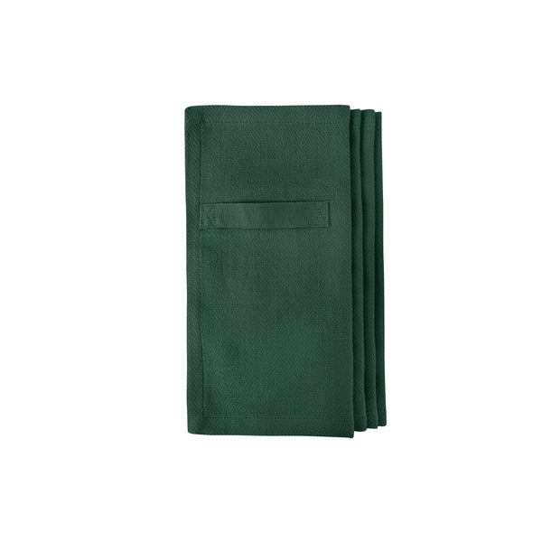 Four dark green gots certified organic reusable napkin for everyday use folded