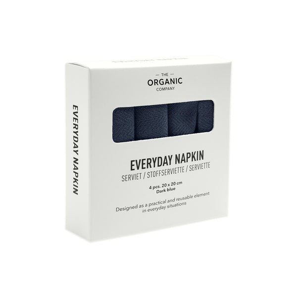 Dark blue gots certified organic everyday napkins in a four pieces box