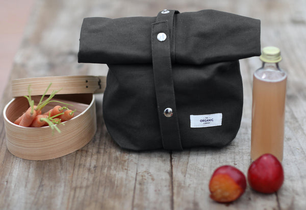 Dark grey gots certified organic reusable lunch bag
