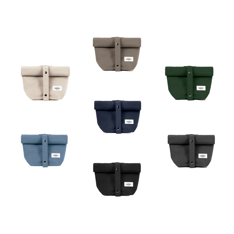 Gots certified organic reusable lunch bags in seven different colors