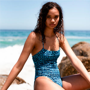 Strappy One Piece | Leopards Blue