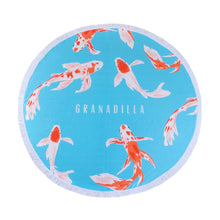 Load image into Gallery viewer, Koi Fish | Baby Blue / Round Towel