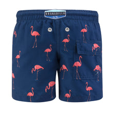 Load image into Gallery viewer, Flamingo | Navy / Kids / Swimwear Shorts