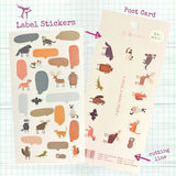 Kitten and Puppy Label Stickers with Postcards
