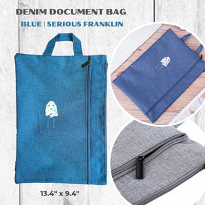 Denim Dog and Cat Print Document Bag