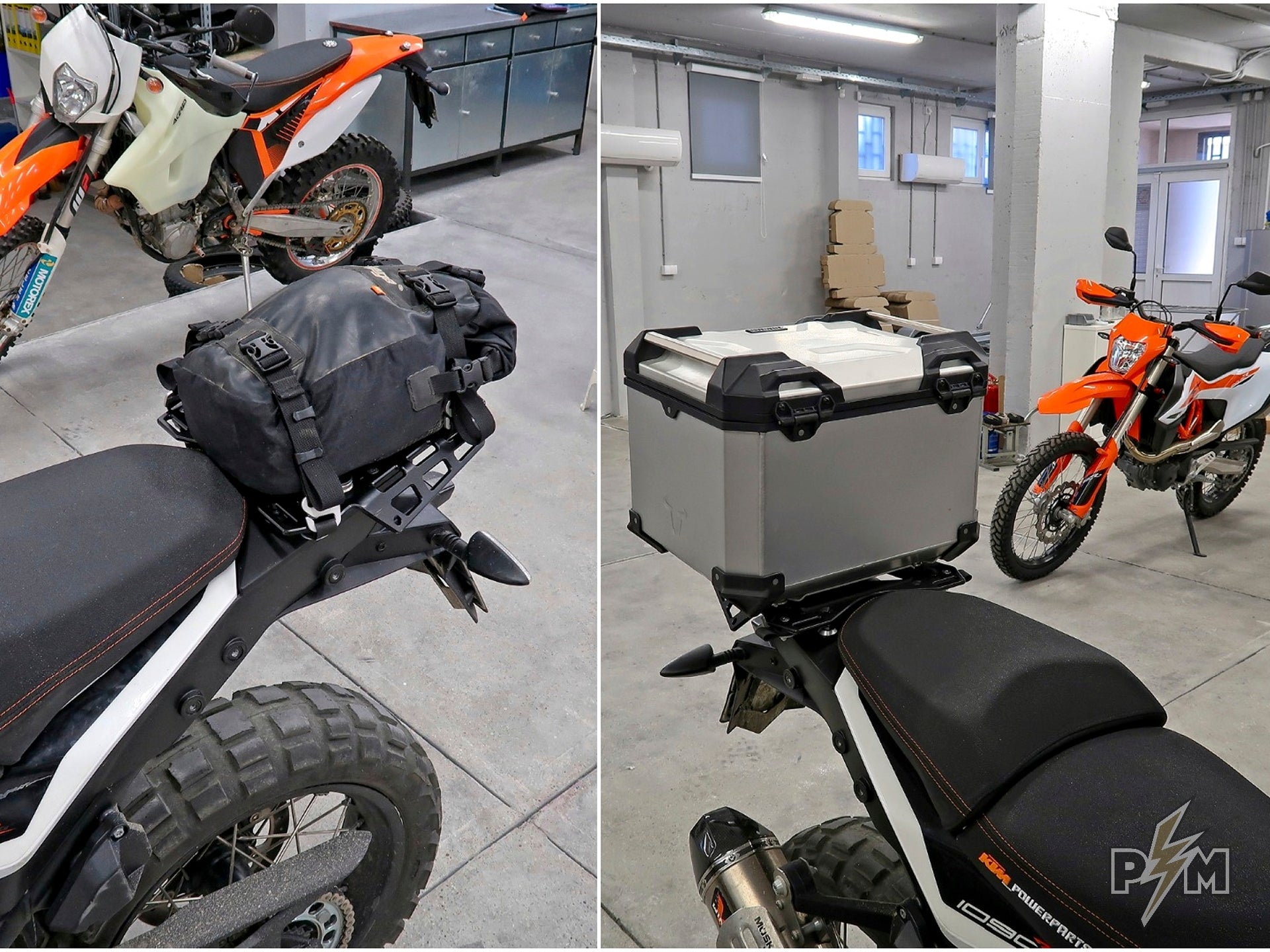 SW-Motech Trax 38l top case and Kriega US-20 on 1X90 Top luggage rack with Subplate
