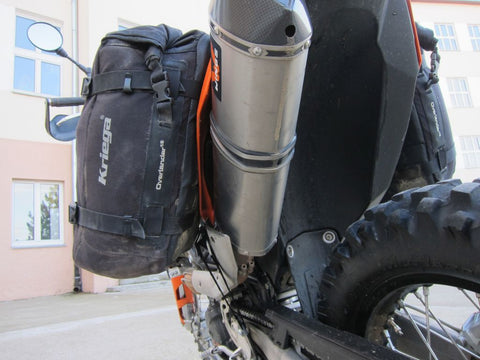 Perun moto KTM 690 Enduro Heel guards and Kriega Overlander-30