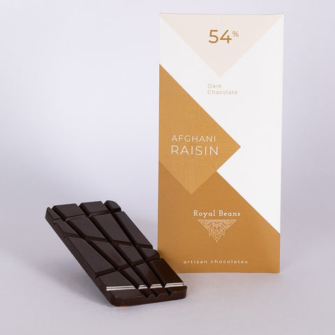 Afghani Black Raisin & 54% Dark Chocolate Bar