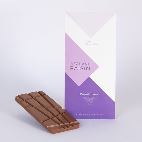 Afghani Black Raisin & Milk Chocolate Bar