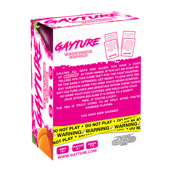 Back of gayture the gay culture card game packaging. WHite box with hot pink background describing what the card game is about.