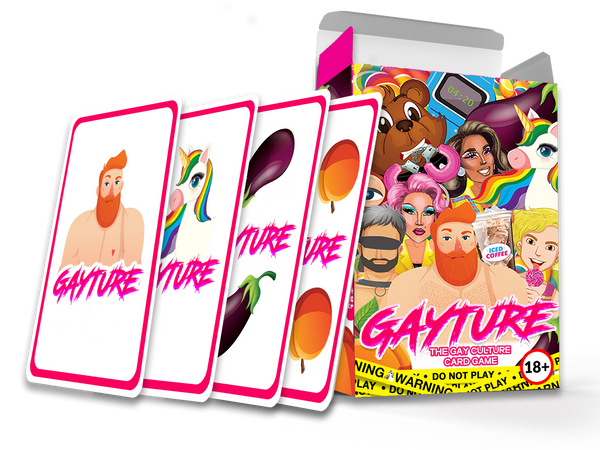 Front image of Gayture the gay culture card game box with the lid open and four of the front designs of the playing cards leaning next to the box.