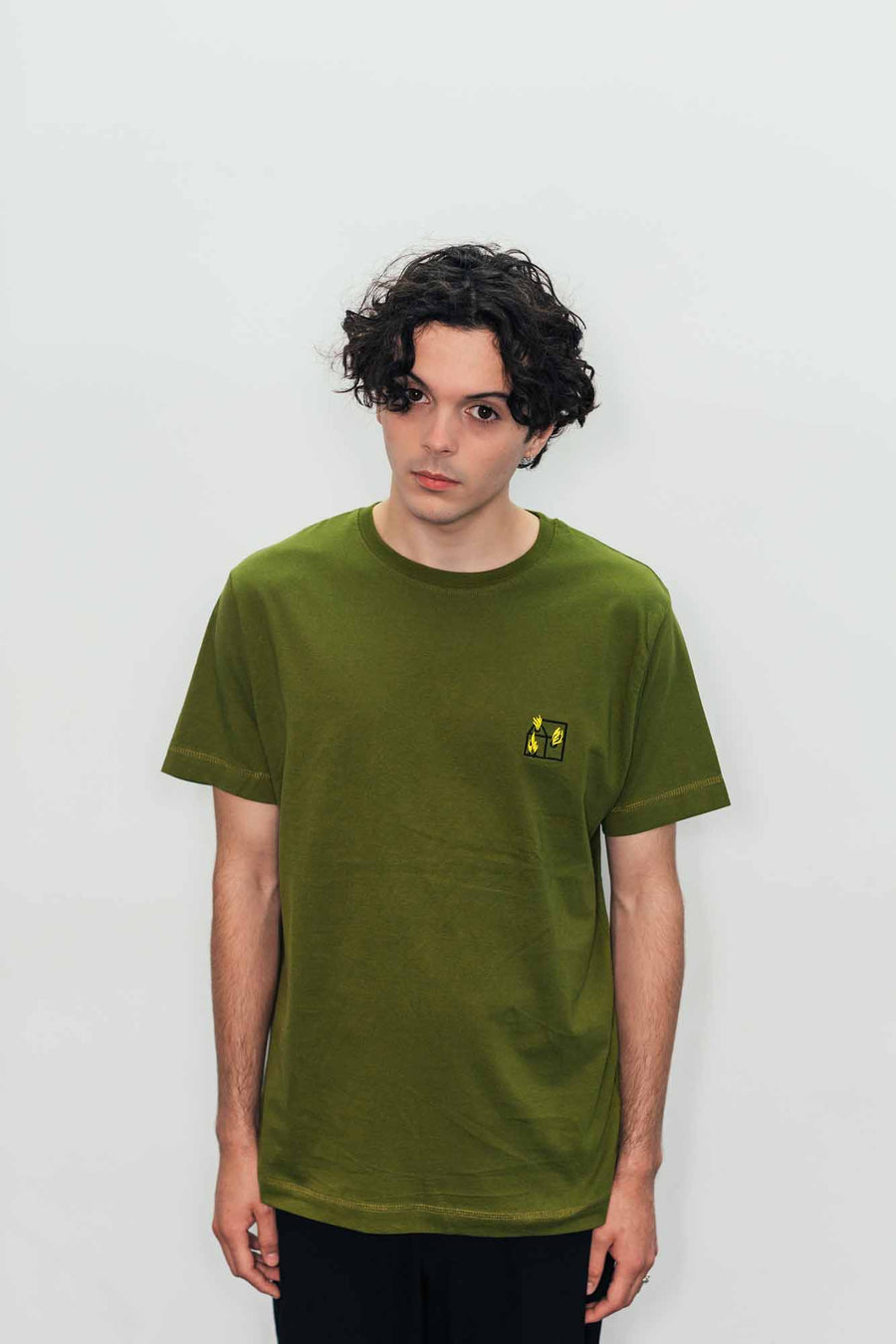 Team Crew Neck T-shirt in Khaki