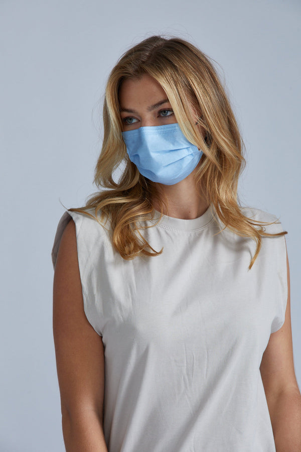 Sky Blue Face Masks - 10 Pack
