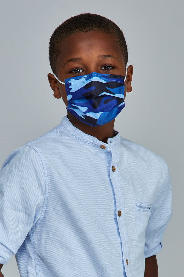 Kids - Blue Camo Face Masks - 10 Pack