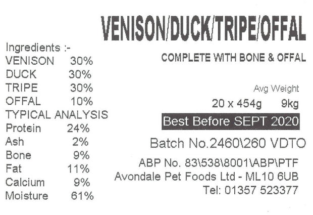 JUST NATURAL VENISON,DUCK,TRIPE & OFFAL COMPLETE, BOX OF 20 , 454g