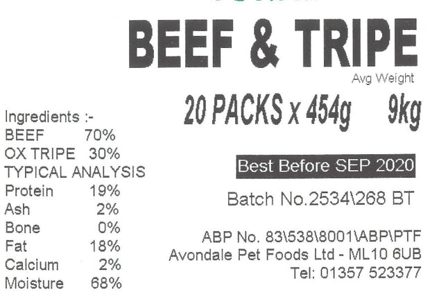 JUST NATURAL PRIME BEEF & TRIPE, SINGLE  454g