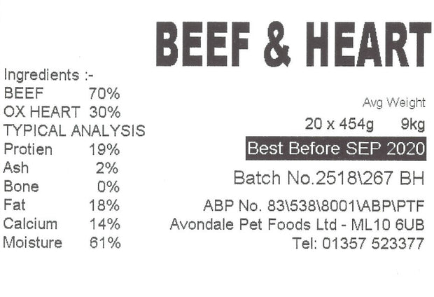 JUST NATURAL PRIME BEEF & HEART, SINGLE, 454g