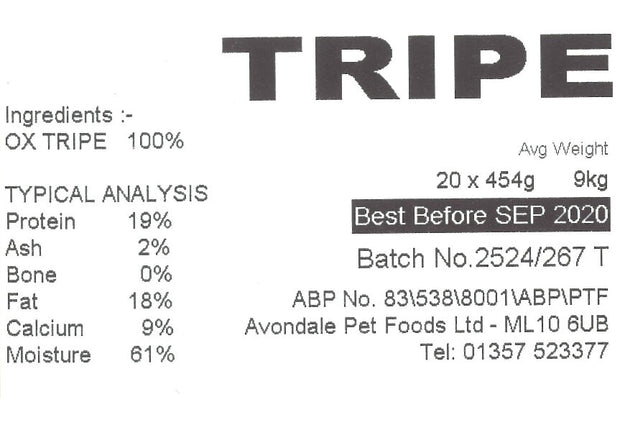 JUST NATURAL OX TRIPE, BOX OF 20, 454g