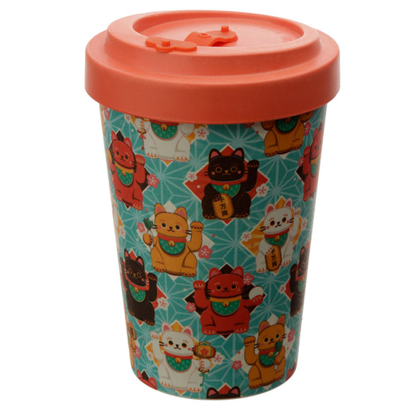 Bambootique Lucky Cat Reusable Travel Mug-biglittlebamboo.co.uk