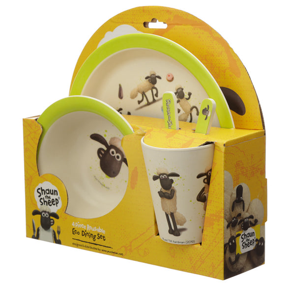 Bambootique Shaun the Sheep Reusable Dinner Set-biglittlebamboo.co.uk
