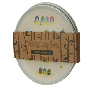 Bambootique Reusable Beach Huts Plate Set-biglittletrading.co.uk