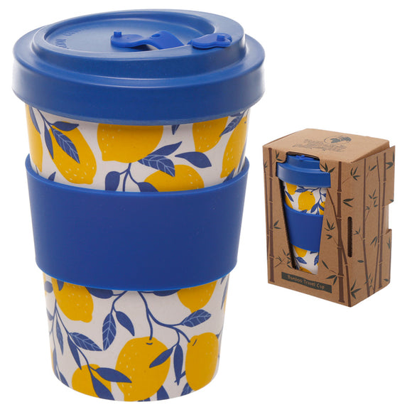 Bambootique Lemons Screw Top Travel Mug-biglittlebamboo.co.uk