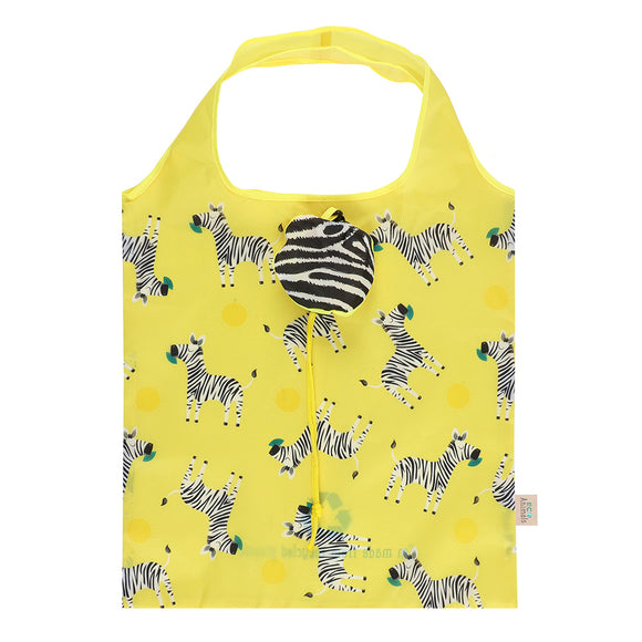 Ziggy Zebra Foldable Shopping Bag-biglittlebamboo.co.uk