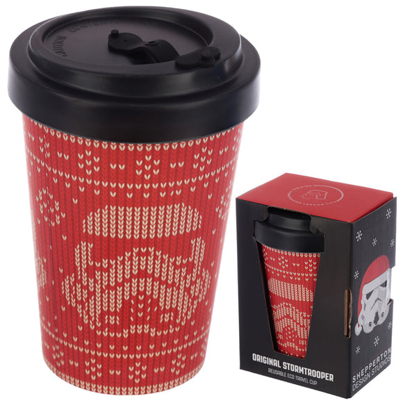 Red Christmas Reusable Bamboo Travel Mug-biglittlebamboo.co.uk