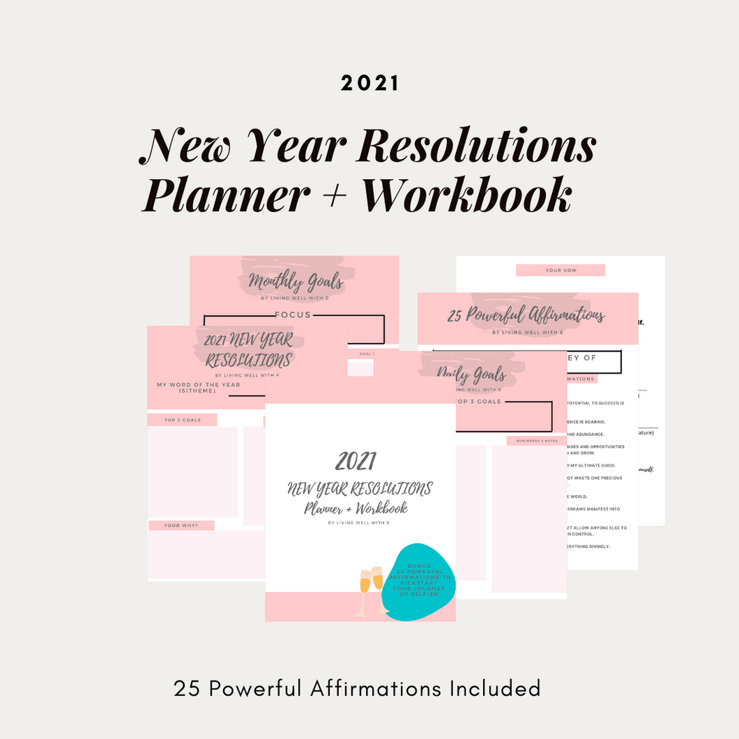 2021  NEW YEAR RESOLUTIONS Planner + Workbook