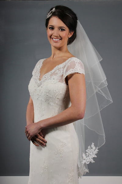 CORDED LACE APPLIQUE VEIL