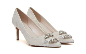 Lace and satin wedding shoe with jewels