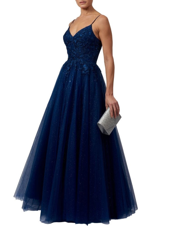 Full Floor-Length Prom Dress with Sparkle (Navy)