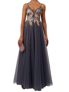 Stunning Prom Dress with Detailed Bodice (Charcoal)