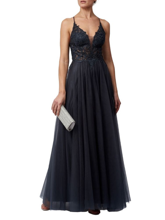 Beautifully Ornate Floor-Length Prom Dress (Charcoal)