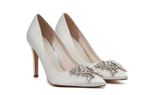 Nelly bridal court shoe with butterfly jewel