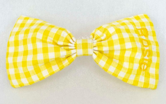 personalised gingham hair bow yellow
