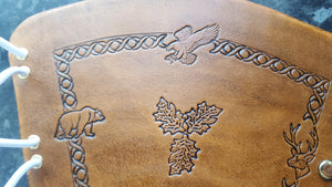 Handcrafted Leather Bracer - Standard - Nature stamps