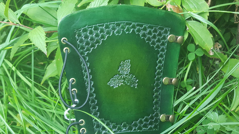 Handcrafted Leather Bracer - Oak Leaves