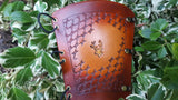 Handcrafted Leather Bracer - Basket Weave with Stamp