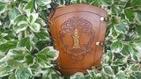Handcrafted Leather Bracer - Tree of Life with Mjolnir