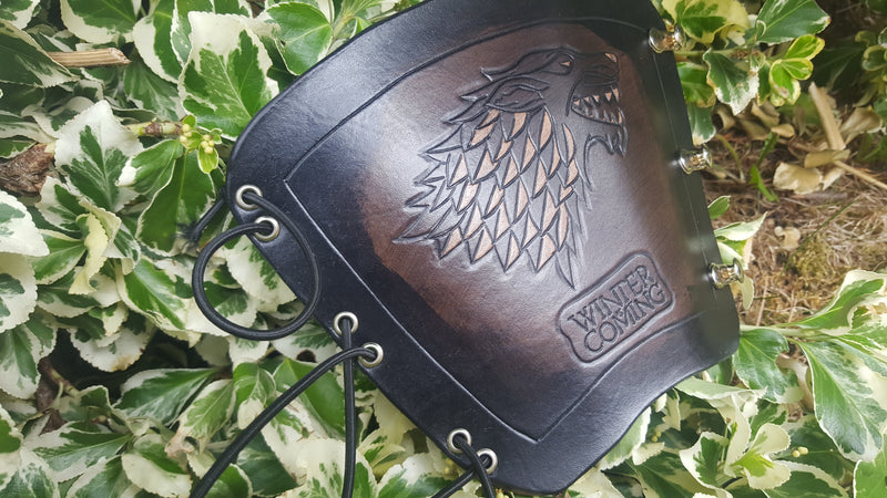 Handcrafted Leather Bracer - Game of Thrones - House Stark