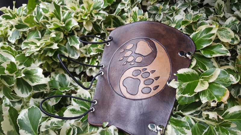 Handcrafted Leather Bracer - Ying Yang Wolf Prints