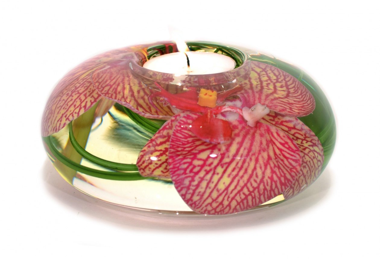 Pink Yellow Spotted Phalaenopsis Tea Light Holder (Large)