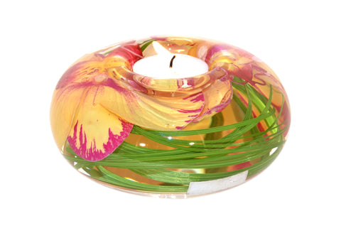 Yellow Fuchsia Phalaenopsis Tea Light Holder (Large)