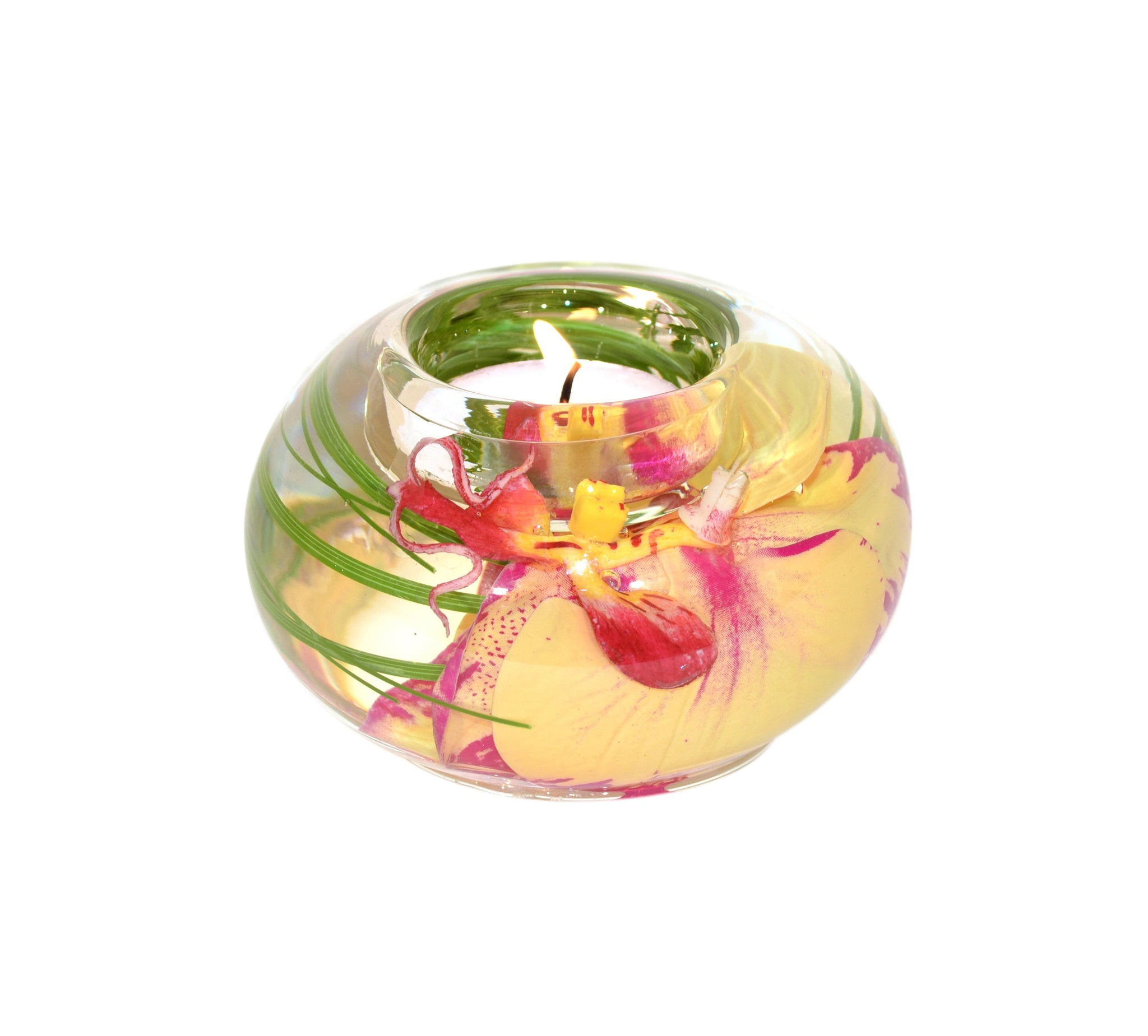 Yellow Fuchsia Phalaenopsis Tea Light Holder (Small)